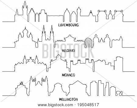 Skyline with Historic Architecture, Line art, vector illustration. Luxembourg, Helsinki, Monaco and Wellington