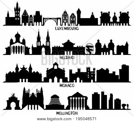 Skyline with Historic Architecture, Silhouettes of Luxembourg, Helsinki, Monaco and Wellington