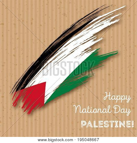 Palestine Independence Day Patriotic Design. Expressive Brush Stroke In National Flag Colors On Kraf