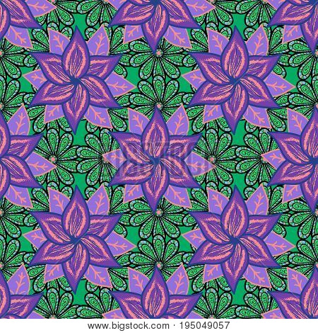 Flat Flower Elements Design. Colour Spring Theme seamless pattern Background. Flowers on colorful background. Floral seamless pattern background summer flowers.