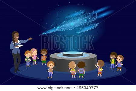 Innovation education elementary school african brown skin black hair group of kids planetarium science spaceship hologram on space future museum center. vector illustration art
