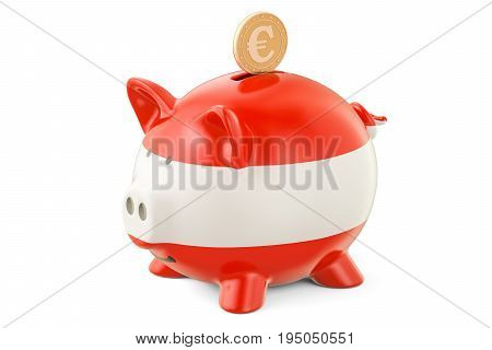 Investments in Austria. Piggy bank with flag and golden euro coin business concept. 3D rendering