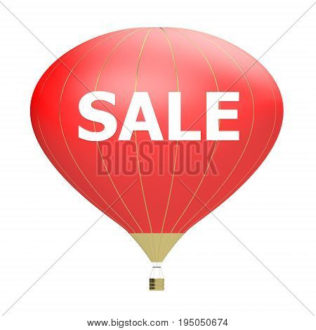 Sale poster .3d illustration banner with air balloon. Design for banner flyer and brochure for event promotion business or department store. Isolated on white background