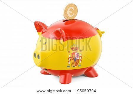 Piggy bank with flag of Spain and golden euro coin. Investments and business concept 3D rendering