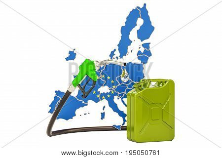Production and trade of petrol in European Union concept. 3D rendering isolated on white background