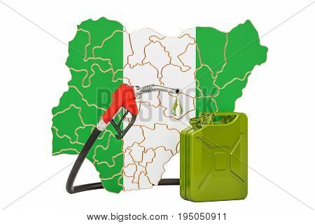 Production and trade of petrol in Nigeria concept. 3D rendering isolated on white background