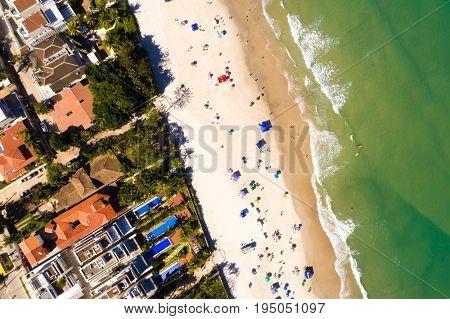 Top View of Juquehy Beach in Sao Paulo, Brazil