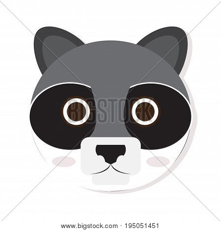 Isolated cute racoon face on a white background, Vector illustration
