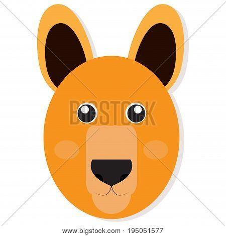 Isolated cute kangaroo face on a white background, Vector illustration