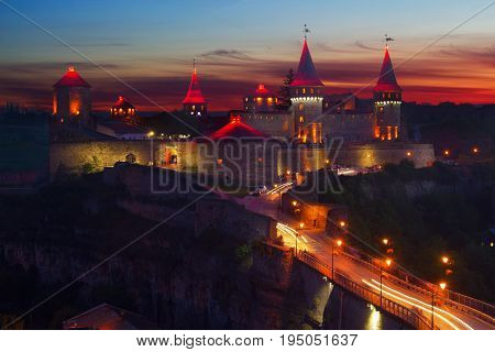Evening view on the Castle in Kamyanets-Podilsky, Ukraine