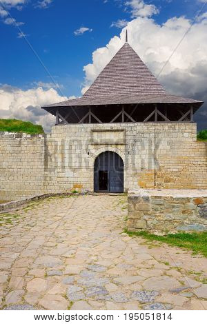 Fortified ancient entrance to the Khotyn fortress Podillya Ukraine
