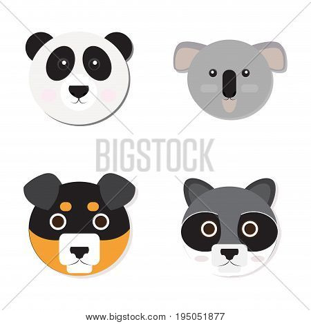 Set of cute animal faces, Vector illustration