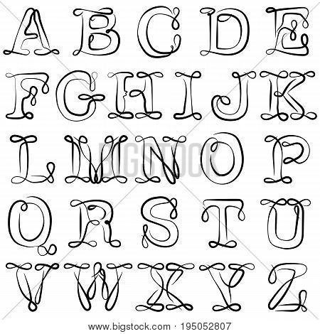 English alphabet. ABC. English letters are black on white. A twisted pattern with loops and curls.
