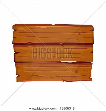 Old west wood board. Cartoon wood signboard. Vector game welcome board isolated on white background. Clip art rustic element