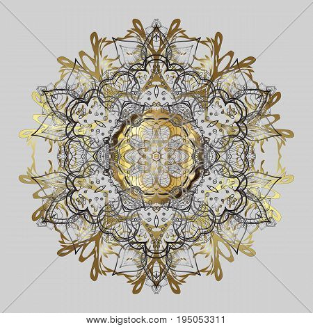 Celebratory ornamental pattern with golden snowflakes hanging for strings and packaging. Vector illustration.