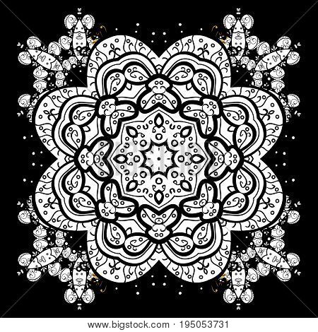 Snowflake seamless pattern. Vector snowflakes background. Flat design of black snowflakes isolated on black background. Snowflakes pattern.