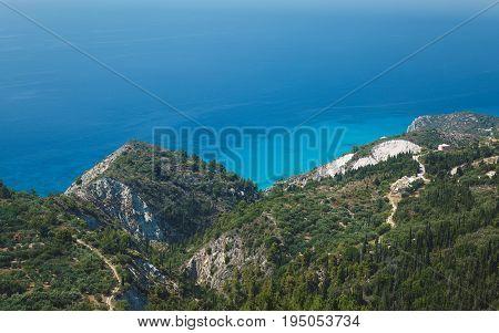 Lefkada coast beach Greece. Aerial view from Kalamitsi to Ionian sea, Lefkada, Greece