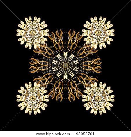 Golden pattern on golden background with elements. Luxury royal and Victorian concept. Ornate decoration. Vector vintage baroque floral pattern in golden.