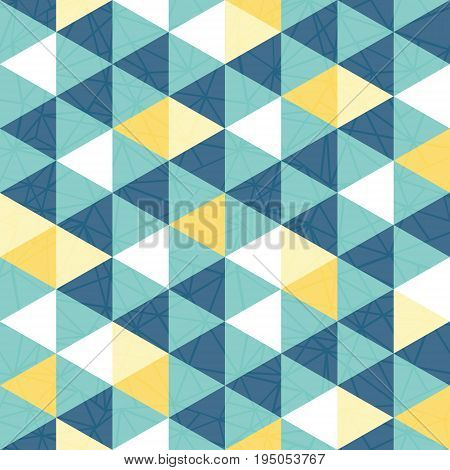 Vector blue and yellow triangle texture seamless repeat pattern background. Perfect for modern fabric, wallpaper, wrapping, stationery, home decor projects. Surface pattern design.