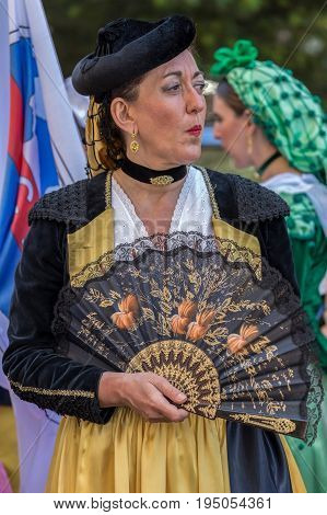 TIMISOARA ROMANIA - JULY 9 2017: Mature dancer woman from Spain in traditional costume present at the international folk festival