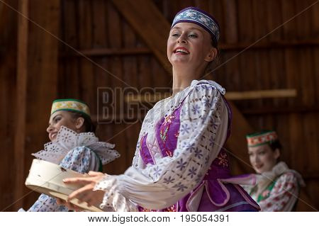 ROMANIA TIMISOARA - JULY 9 2017: Young Belorussian dancers in traditional costume perform in one show at the international folk festival
