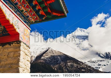 Himalayas Mountain Peak And Buddhist Temple Colorful Roof, Nepal
