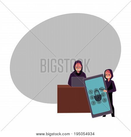 Young man in black hoodie hacking system using laptop, cracking smartphone pin code, cartoon vector illustration with space for text. Cybercrime, Internet fraud, hacker at work