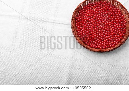 Red current in a light brown basket on a gray background. Berries full of vitamins. Delicious organic red berries. Nutritious foods for diet.