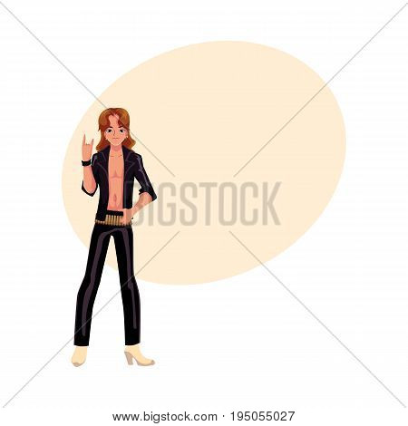 Young man wearing black leather clothes dressed as glam rock star, cartoon vector illustration with space for text. Full length portrait of young man dressed as glam rock star