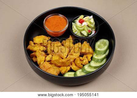 Charcoal Boiled ,pork Satay Served With Side Disk.