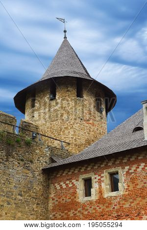 Khotyn Ukraine - 21 May 2017: Turret of the Khotyn castle from the inside Ukraine.