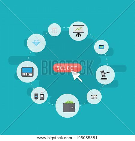 Flat Icons Atm, Jewel Gem, Computer And Other Vector Elements. Set Of Banking Flat Icons Symbols Also Includes Growing, Payment, Arrow Objects.