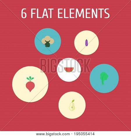 Flat Icons Melon Slice, Broccoli, Duchess And Other Vector Elements. Set Of Fruit Flat Icons Symbols Also Includes Root, Broccoli, Cauliflower Objects.