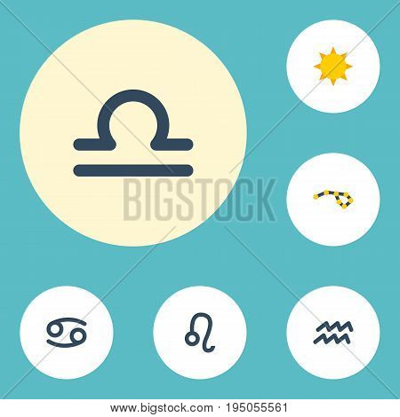 Flat Icons Horoscope, Scales, Lion And Other Vector Elements. Set Of  Flat Icons Symbols Also Includes Lion, Astronomy, Horoscope Objects.