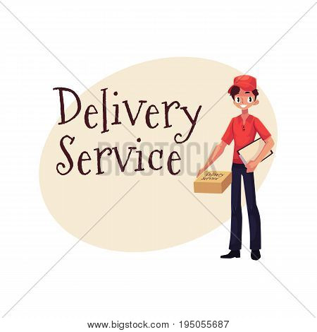 Delivery service banner with portrait of courier standing with package and clipboard, cartoon vector illustration. Delivery service banner showing man boy in courier uniform with clipboard and package