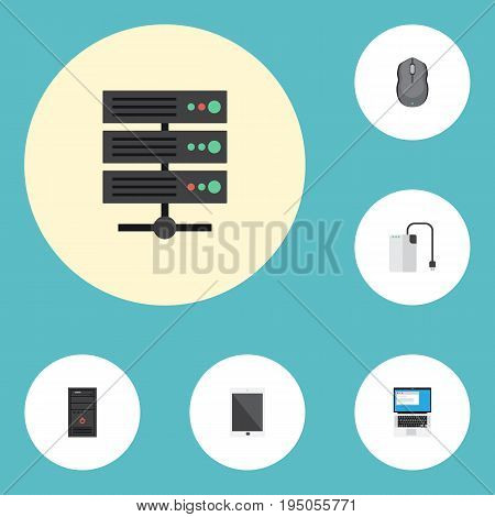 Flat Icons Palmtop, Laptop, System Unit And Other Vector Elements. Set Of Laptop Flat Icons Symbols Also Includes Unit, Processor, Palmtop Objects.