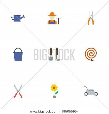 Flat Icons Watering Can, Garden Hose, Bucket And Other Vector Elements. Set Of Gardening Flat Icons Symbols Also Includes Instruments, Gardener, Grass Objects.