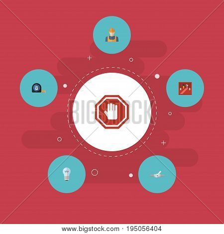 Flat Icons Roll Meter, Stop Sign, Worker And Other Vector Elements. Set Of Industry Flat Icons Symbols Also Includes Builder, Sign, Stop Objects.