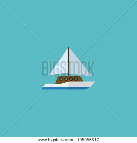 Flat Icon Yacht Element. Vector Illustration Of Flat Icon Sailboard Isolated On Clean Background. Can Be Used As Sail, Ship And Yacht Symbols.