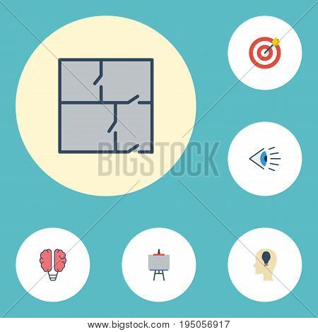 Flat Icons Arrow, Scheme, Eye And Other Vector Elements. Set Of Original Flat Icons Symbols Also Includes Target, Concept, Draw Objects.