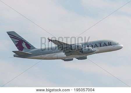 London UK - July 9 2017: Plane Airbus A380 Qatar Airways takes off from London Heathrow Airport