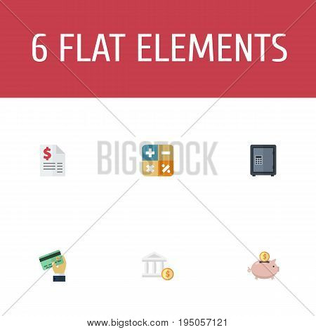 Flat Icons Safe, Card, Duty And Other Vector Elements. Set Of Registration Flat Icons Symbols Also Includes Bank, Payment, Tax Objects.