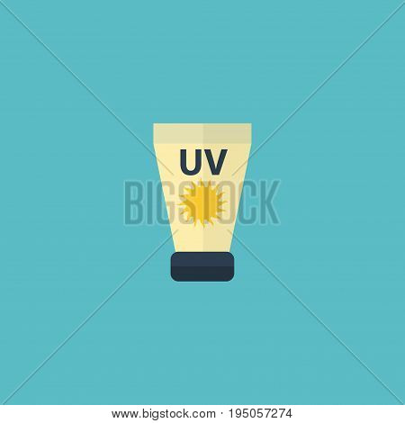 Flat Icon Sunscreen Element. Vector Illustration Of Flat Icon Anti-Sun Cream Isolated On Clean Background. Can Be Used As Sun, Cream And Sunscreen Symbols.