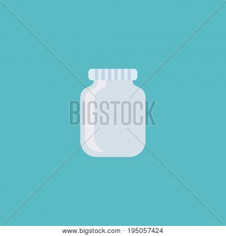 Flat Icon Jar Element. Vector Illustration Of Flat Icon Glass Container Isolated On Clean Background. Can Be Used As Jar, Can And Container Symbols.