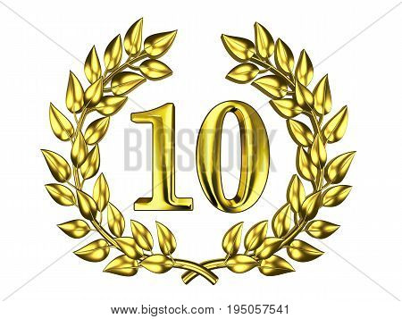 Illustration for the anniversary celebration - Golden figure of 10 (ten) in a gold wreath isolated on a white background
