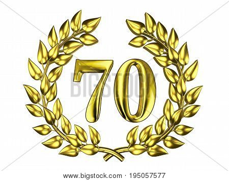 Illustration for the anniversary celebration - Golden figure of 70 (seventy) in a gold wreath isolated on a white background