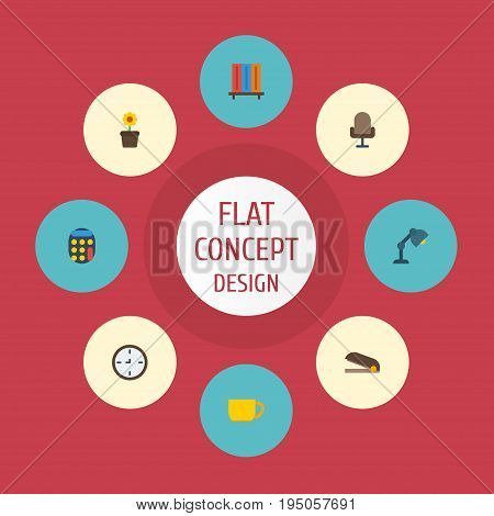 Flat Icons Calculate, Bookshop, Tea And Other Vector Elements. Set Of Office Flat Icons Symbols Also Includes Bookcase, Coffee, Flowerpot Objects.
