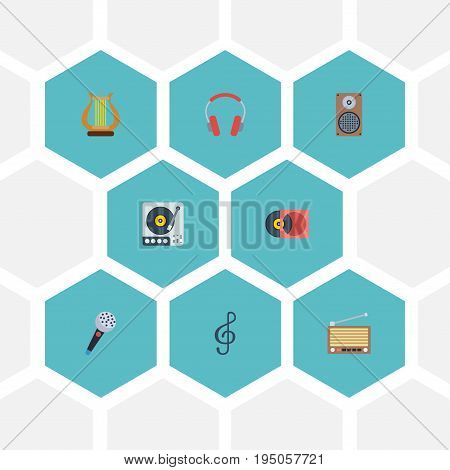 Flat Icons Karaoke, Turntable, Earphone And Other Vector Elements. Set Of Audio Flat Icons Symbols Also Includes Box, Retro, Audio Objects.