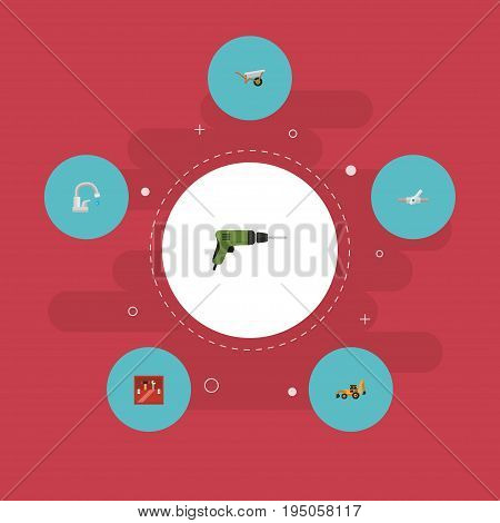 Flat Icons Electric Screwdriver, Faucet, Excavator And Other Vector Elements. Set Of Construction Flat Icons Symbols Also Includes Water, Tractor, Valve Objects.