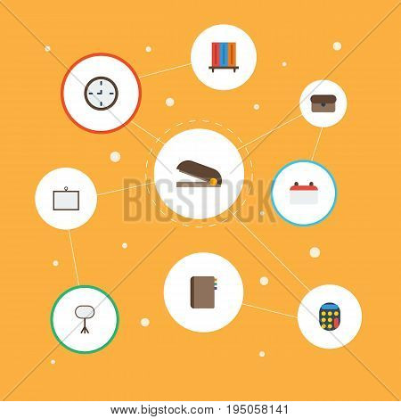 Flat Icons Date, Bookshop, Calculate And Other Vector Elements. Set Of Office Flat Icons Symbols Also Includes Desk, Clock, Bookshelf Objects.